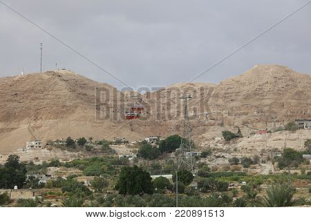 Cable Car to Mount of Temptation in Jericho. Palestine. Israel poster