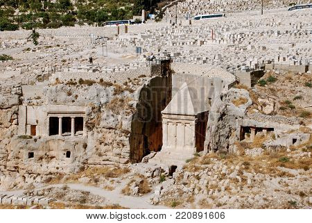 Vertical picture of Tomb of Absalom cemetery located in the Mount of Olives in Jerusalem, Israel.