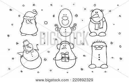 Set of six cute snowmen. Shy, complacent, hipster, surprised, happy and smiling characters. Vector illustration isolated on white