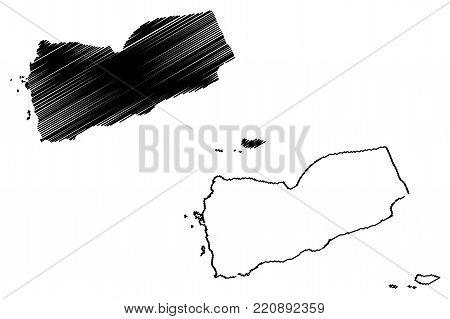 Yemen map vector illustration, scribble sketch Republic of Yemen