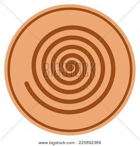 Hypnosis Spiral bronze coin icon. Vector style is a copper flat coin symbol.