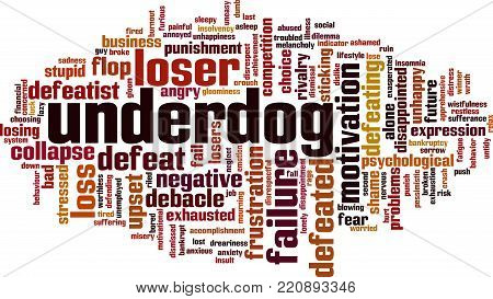Underdog word cloud concept. Vector illustration on white