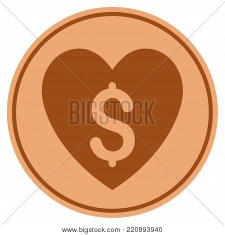 Paid Love bronze coin icon. Vector style is a copper flat coin symbol.