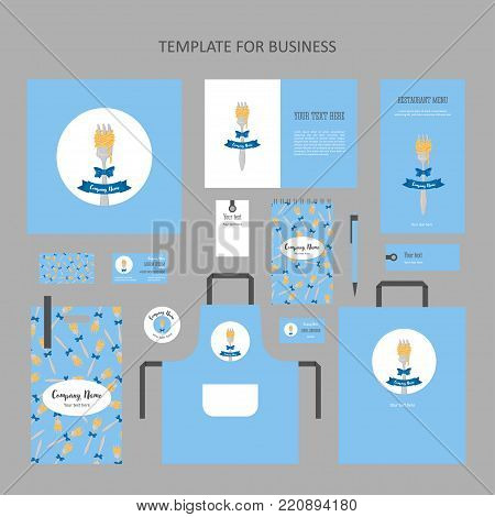 Elements of corporate identity for a restaurant, cafe. Vintage corporate branding. Fork spaghetti , bow and ribbon in circle, blue background. Menu, booklet, business card and banner.