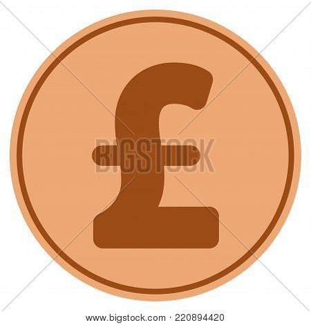 Pound Sterling bronze coin icon. Vector style is a copper flat coin symbol.