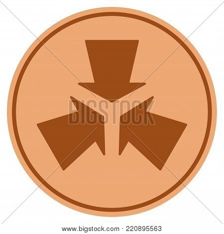 Shrink Arrows bronze coin icon. Vector style is a copper flat coin symbol.