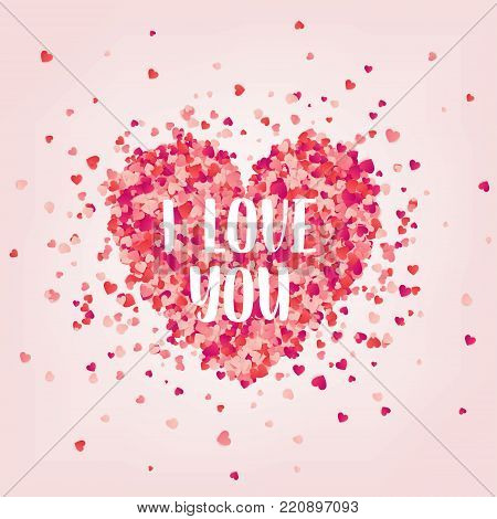 Valentines day red background with hearts. Love symbol. February 14. I love you. Be my valentine. Lettering, calligraphy. Heart confetti.