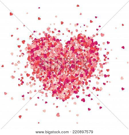 Valentines day red background with hearts. Love symbol. February 14. I love you. Be my valentine. Heart confetti.