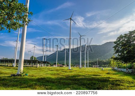 choice of energy clean without solution Wind turbine and  solar cell roof in thailand