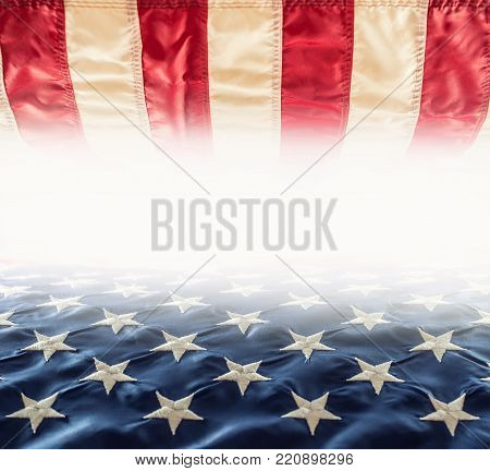 American Flag. Usa Flag. Abstract Perspective Background Of Stripes And Strars With American Symbol