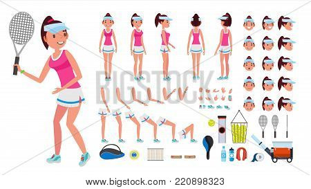 Tennis Player Female Vector. Animated Character Creation Set. Tennis Player Girl, Woman. Full Length, Front, Side, Back View, Accessories, Face Emotions, Gestures Isolated Cartoon Illustration