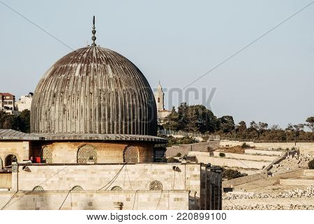 Horizontal picture of the dome of Al Aqsa mosque, inside the walls of Old City in Jerusalem, Israel