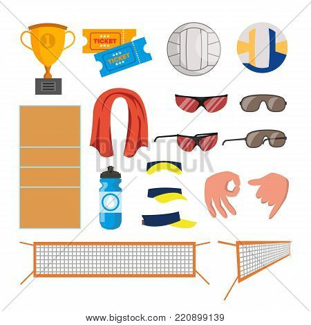 Beach Volleyball Icons Set Vector. Volleyball Accessories. Cup, Tickets, Ball, Glasses, Towel, Field, Water Gestures Cap Sand Summer Isolated Cartoon Illustration