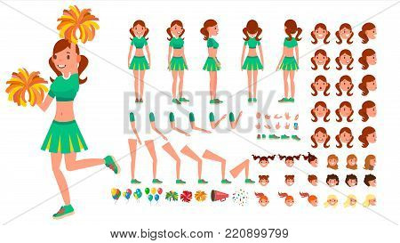 Cheerleader Girl Vector. Animated Character Creation Set. Sport Fan Dancing Cheerleading Woman. Full Length, Front, Side, Back View, Accessories, Poses, Face Emotions, Gestures Isolated Cartoon Illustration