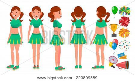 High-School Profession Cheerleading Teams Vector. In Action. Fans Girls Dancing With Pompoms. Jumping And Dancing Together. Cartoon Character Illustration