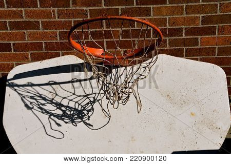 The net of a basketball hoop is shadowed against the white backboard which tis hung upside down.