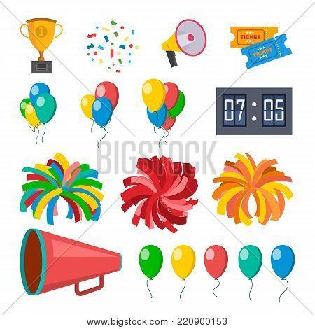 Cheerleading Icons Set Vector. Cheerleaders Accessories. Pompoms, Balloons, Confetti, Megaphone Isolated Cartoon Illustration