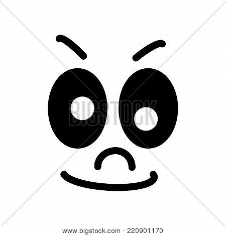 Cartoon face with a skeptical expression on white background. eps 10