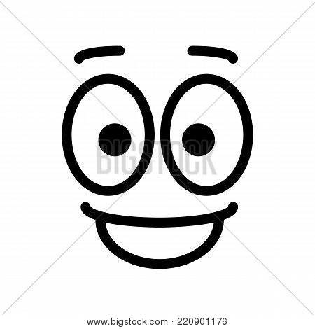 satisfied glad smiley face emoticon line art icon for apps and websites. vector icon, eps 10