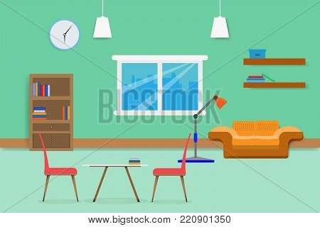 interior living room design relax with sofa Bookshelf and window in green wall background. vector illustration