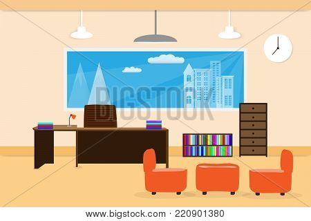 office design interior on table chair bookcase and window. vector illustration