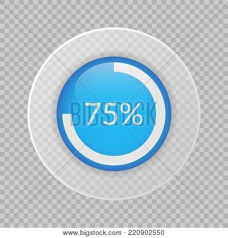 75 percent pie chart on transparent background. Percentage vector infographics. Circle diagram isolated. Business illustration icon for marketing project, finance, financial report, web design