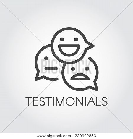 Testimonial line icon. Positive, negative, indifferent emotions concept linear signs. Symbols for communication on websites, forums, games, instant messengers and other platforms. Vector pictograph