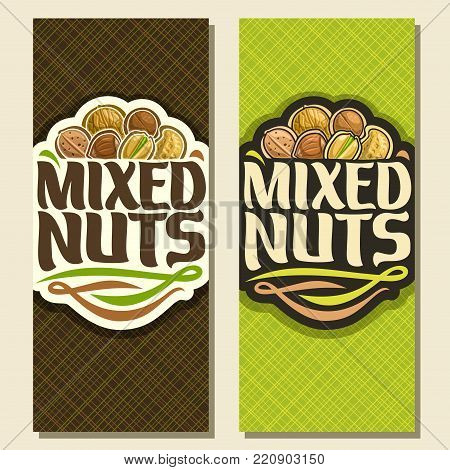 Vector banner for Nuts, cut sign with pile of walnut, australian macadamia nut, sweet almond, forest hazelnut, cracked pistachio, peanut in nutshell, veg mix label with text mixed nuts for vegan store