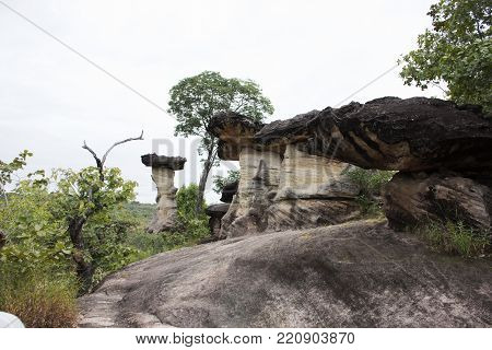 Sao Chaliang or Rock Earth Pillar in Pha Taem National Park at Amphoe Khong Chiam in Ubon Ratchathani, Thailand for people travel and visit