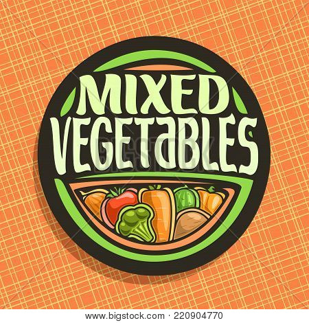 Vector logo for Vegetables, sign with set of onion, ripe tomato, carrot tuber, green cauliflower, raw potato for vegetable summer salad, veg mix label with title text mixed vegetables for vegan store.
