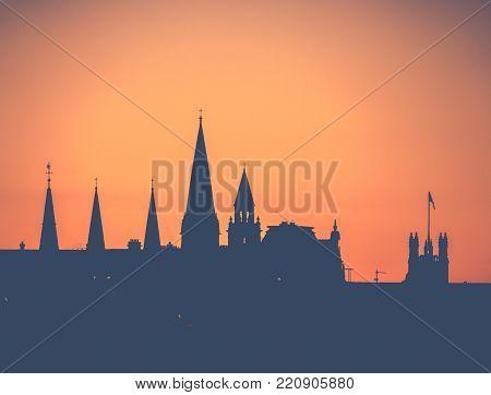 Retro Filtered Churh Spires Of Edinburgh At Sunset