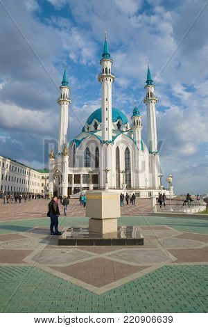 KAZAN, RUSSIA - APRIL 30, 2016: A sunny April day at the Kul-Sharif mosque