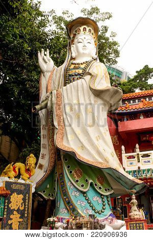 Close up Kwun Yam (Guan Yin) Shrine in Tin Hau temple beside Repulse Bay in Hong Kong Island