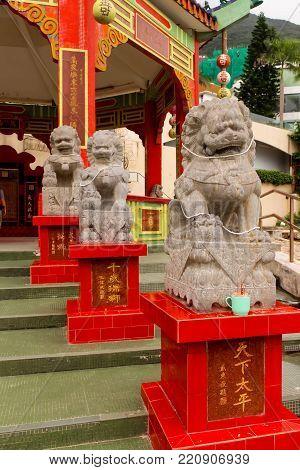 Closeup of Stone lion statue in Repulse Bay Temple, Hong Kong