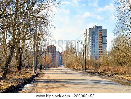 Sovetskaya street in the village Ust Slav at sunny spring day, outskirts of St.Petersburg.