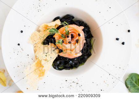 gourmet breakfast meal black pasta nero concept. luxury food. delicacy recipe.
