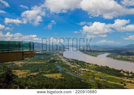 sky walk  at mekong river hilight travel in Nong Khai border Laos and Thailand