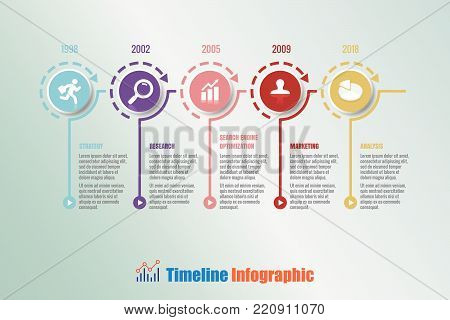 Business road map timeline infographic with 5 steps circle designed for background elements diagram planning process web pages workflow digital technology data presentation chart. Vector illustration