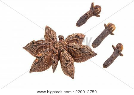 Anise star with three clove on white background
