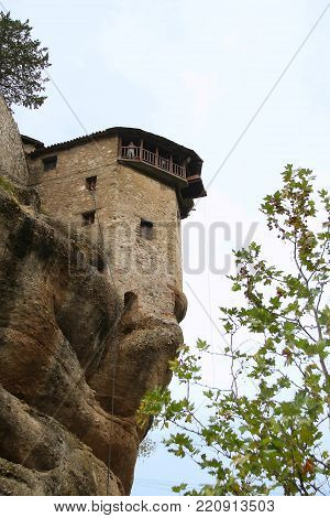 METEORA, GREECE - SEPTEMBER 18, 2012: This is tower of the monastery of Varlaam on the top of the rocks of Meteora.