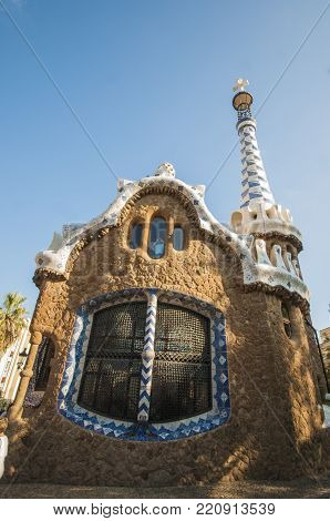 Barcelona, Spain - 28 September 2016: Antonio Gaudi's Park Guell in Barcelona