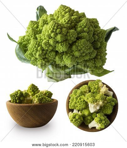 Roman cauliflower in wooden bowl isolated on white background. Roman cauliflower close up. Fractal texture of romanesco broccoli. Roman cauliflower with copy space for text.