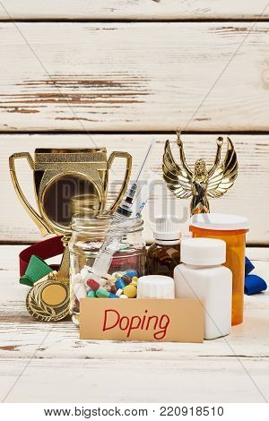 Trophy and dope drugs. Lots of assorted pills and injections. Violation of sport ethics and law.