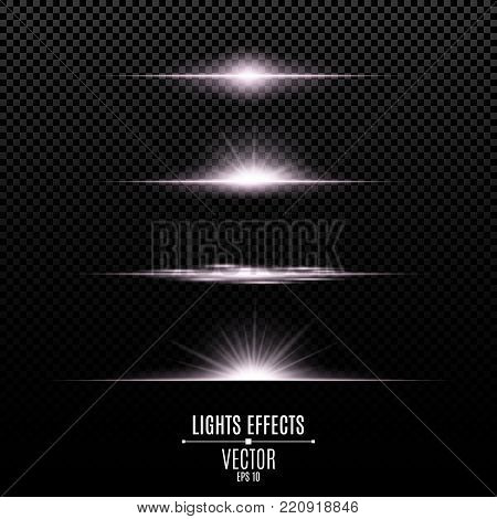 Bright lights effects isolated on a transparent background. Bright flashes and glare of white color. Bright rays of light. Glowing lines. Vector illustration.