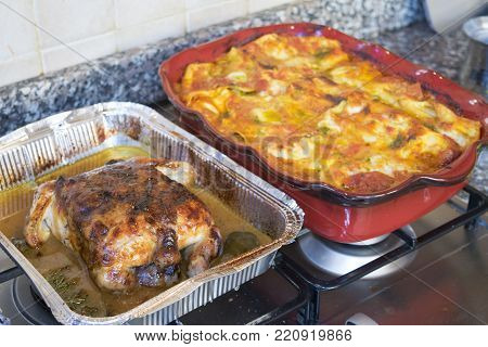 holiday luncheon with tasty stuffed chicken and bolognese lasagna