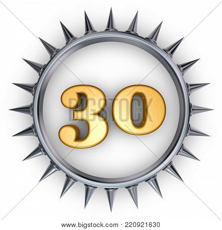 number thirty in ring with spikes on white background - 3d illustration
