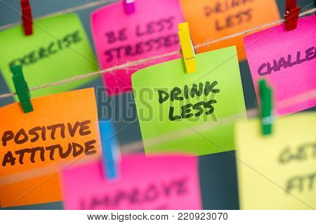 Closeup Notes Concept For Motivation For Stop Drinking Sweetened Or Alcoholic Drinks