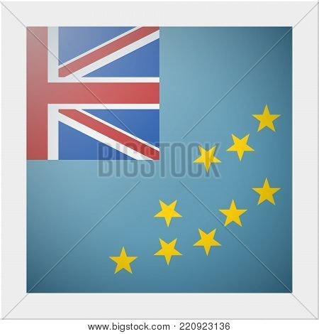 Oceania zone flag collection with photo of Tuvalu flag , vector , illustration