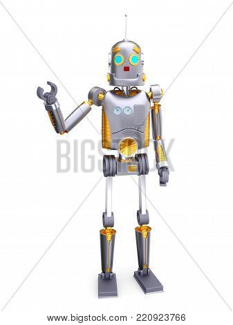 Retro robot in vintage sixties style isolated on white background. 3d illustration