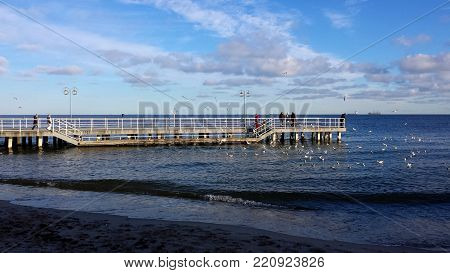 Gdynia, Poland - January 07, 2018: Sunday walk by the sea, people feed birds